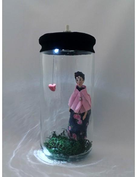"""Lámpara """"Te tengo en el Bote"""" Chal rosa y corazón"""