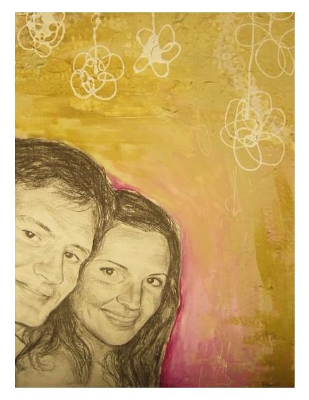 Retratos parejas blanco y negro sobre fondo de color