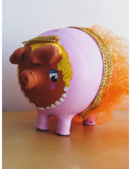 Hucha cerdito princesa, bailarina, miss