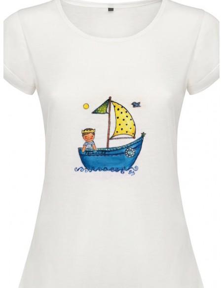 Camiseta barquito con niño o niña con corona