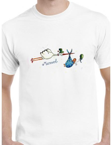 Camiseta nacimiento bebé y cigüeña