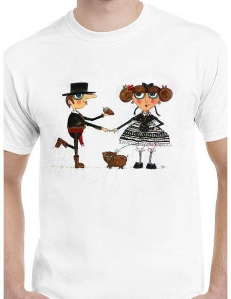 Camiseta pareja de extremeños con bellota y cerdito