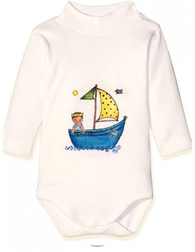 Body bebé barquito con niño o niña con corona