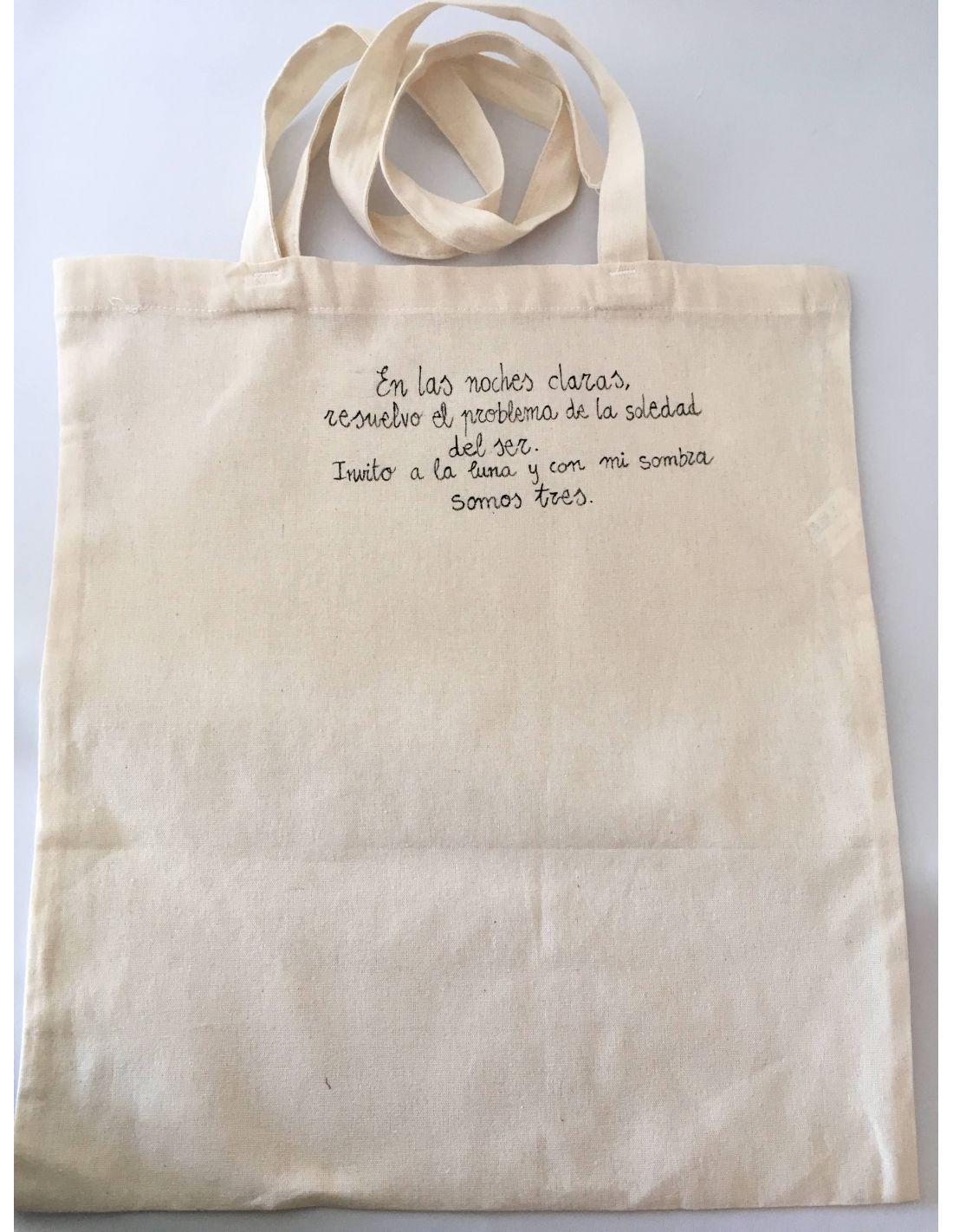 72d6a7f55 Bolsa de tela personalizadas con poesías. Tote bag con versos ...