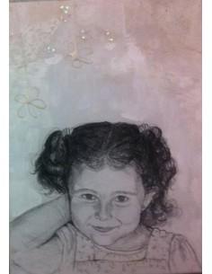 Retratos niños blanco y negro sobre fondo de color