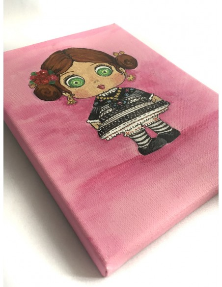 Lienzo extremeña de frente fondo rosa