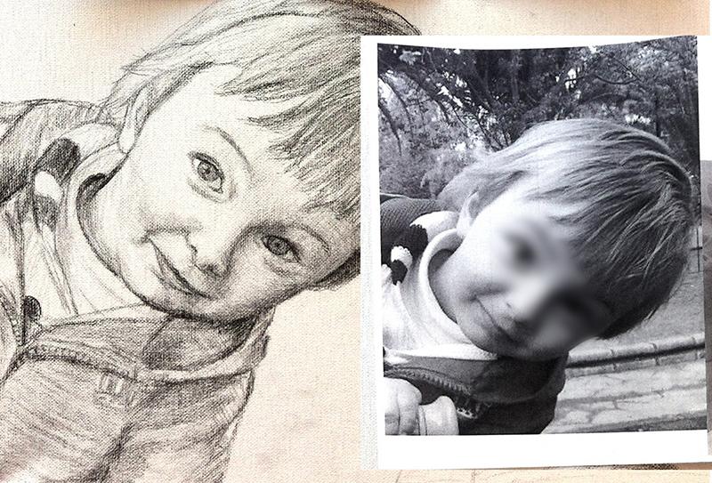 ejemplo proceso de trabajo retrato personalizado de niño dedicarte taller creativo